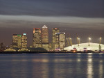 Canary Wharf and the Millennium Dome at night 6 by Assaf Frank