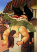 Over The Balcony by Fernando Botero