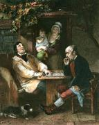 Playing at Draughts (Restrike Etching) by John Burnett
