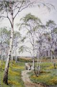 The Primrose Field (Restrike Etching) by Frederick Albert Slocombe