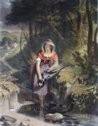 The Girl at the Brook (Restrike Etching) by Valentine Walter Bromley