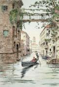 Gondola in Venice (Restrike Etching) by Anonymous