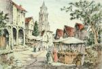 Market Place Brittany (Restrike Etching) by Anonymous