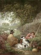 Shepherds Reposing (Restrike Etching) by George Morland