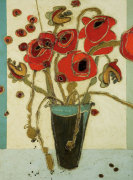 Poppies with Snap Pods by Karen Tusinski