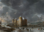 The Castle of Muiden in Winter by Jan Beerstraaten