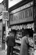 Newspaper vendor in Fleet Street London 1950