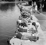 Children fishing in Victoria Park London 1953