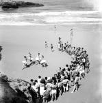 Ballet dancers on beach, 1953 by Mirrorpix