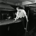 Teddy boy playing snooker, 1955 by Mirrorpix