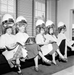 Women at hairdressers 1956