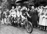 Cyclists, Chantilly Racecourse, 1950 by Mirrorpix