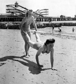 On the beach, Clacton 1946 by Mirrorpix