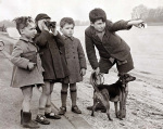 Boys on river bank 1948
