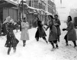Girls snowballing, Cardiff 1940 by Mirrorpix