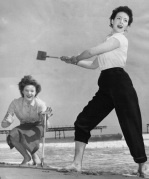 Cricket on Bournemouth beach, 1954 by Mirrorpix