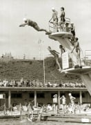 Old lady diving, Brighton 1960 by Mirrorpix