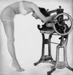 Drying hair in a mangle 1950s