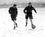 Bradford footballers train in snow 1930s