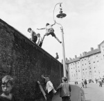 Climbing the wall Oval cricket ground 1953