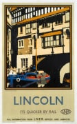Lincoln - Tudor Building and Boat by National Railway Museum