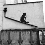 Banksy - Lower Clapton (B&W)