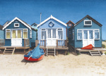 Blue Beach Huts by Margaret Heath