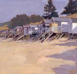 Beach Huts Against Fir Trees by John Sprakes