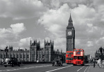 Red Buses By Big Ben by Janet Gill