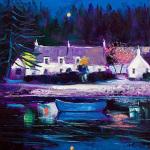 Blue Boat Lochgair by John Lowrie Morrison