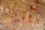 Prehistoric rock paintings, Akakus, Sahara desert, Fezzan, Libya (3) by Sergio Pitamitz