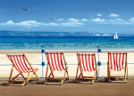 Four Red Deckchairs