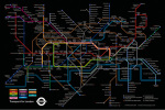 Black London Underground Map by Transport for London