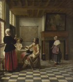 An Interior with a Woman drinking with Two Men and a Maidservant