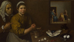 Kitchen Scene with Christ in the House of Martha and Mary by Diego Velázquez
