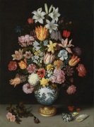 A Still Life of Flowers in a Wan-Li Vase on a Ledge with further Flowers Shells and a Butterfly