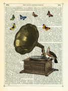 Gramophone Bird and Butterflies