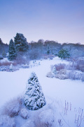 The Main Borders in Winter at RHS Garden Harlow Carr Yorkshire.