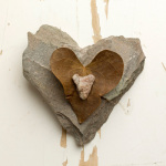 Heart Stones with Leaf by Deborah Schenck