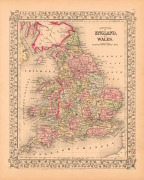 County Map of England and Wales, 1867 by Ward Maps