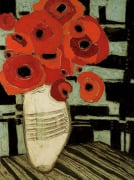 Poppies on Table with Chairs