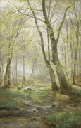 A Woodland Scene with Deer 1895