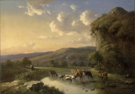 Cattle and Sheep Watering in a Landscape 1853