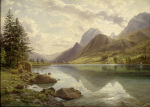 An Alpine Lake Scene by Hermann-David-Salomon Corrodi