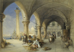 Greek Merchants and Fruit Sellers in the Piazzetta, 1848 by Charles Bentley