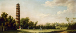 Elegant Figures Walking in the Gardens at Kew by the Pagoda by William Marlow
