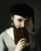 A Young Woman in a Russian Hat Holding a Book