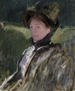 Lydia Cassatt in a Green Bonnet and a Coat, c.1880 by Mary Cassatt