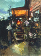 A Figure by a Porch on a Summer Night by Konstantin Alexeievitch Korovin