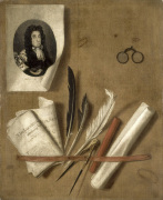Trompe L'Oeil Still Life with Letter Rack and Portrait